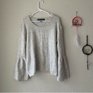 French Connection Gray Wool Bell Sleeve Sweater M
